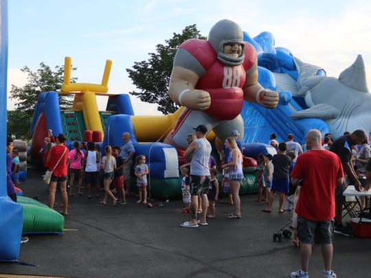 Giant inflatables were among the family fun before