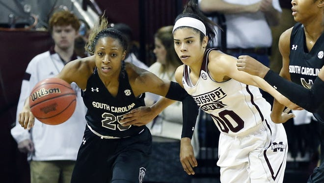 Mississippi State guard Dominique Dillingham (00) finished with five points in the Bulldogs' loss to South Carolina on Sunday.