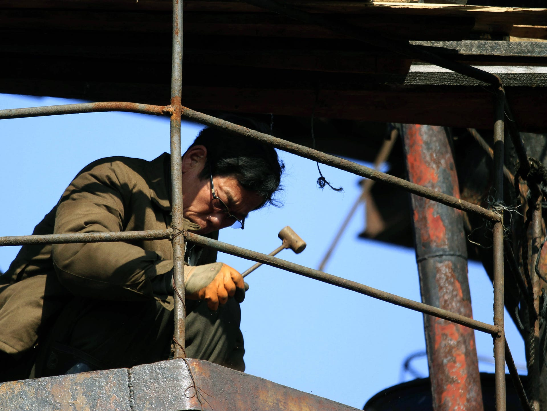 a shipbuilder works at the hongwon shipyard in hongwon county south hamgyong province 12 2016