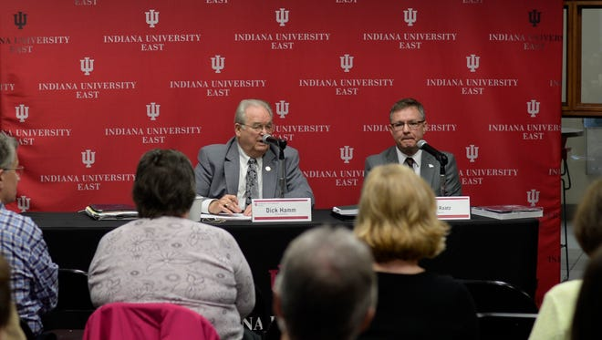 Rep. Dick Hamm (R-Richmond) and Sen. Jeff Raatz (R-Centerville) speak during a legislative forum at IU East on Friday, March 31, 2017.