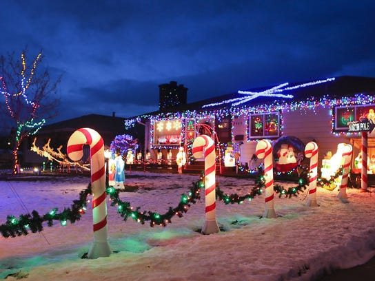Al and Dawn Moczygemba, 3805 4th Ave. S., have decorated their home with Christmas lights. Candy Cane Lane includes homes all over town in addition to the ones in Riverview.
