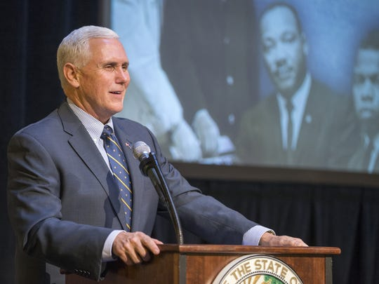 Gov. Mike Pence speaks at a celebration of the life