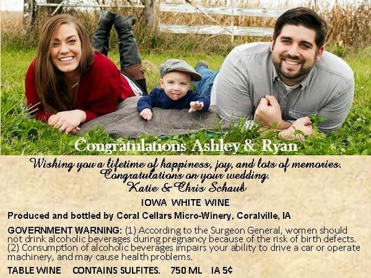 Friends ordered this custom Coral Cellars label as a personalized gift for the wedding of Ashley and Ryan Rottinghaus.