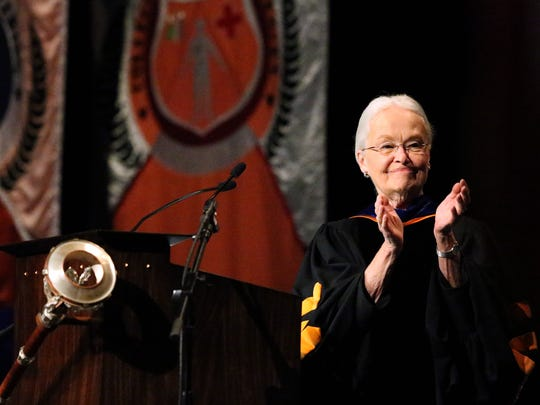 UTEP President Diana Natalicio delivers her fall convocation address Sept. 28, 2017, in Magoffin Auditorium.