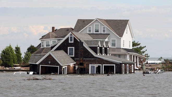 A home washed into Barnegat Bay by Superstorm Sandy.