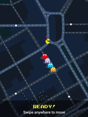 "Campus Martius in downtown Detroit, as seen in a ""Ms. Pac Man"" screen grab from Google Maps on iPhone."
