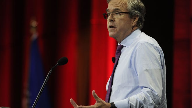 Former Florida Gov. Jeb Bush speaks at the NRA-ILA Leadership Forum during the NRA Convention at Music City Center in Nashville, Tenn., Friday, April 10, 2015.