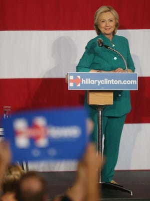 Hillary Clinton addresses the crowd during Clinton's first rally in Iowa on Sunday, June 14, 2015 at the Iowa State Fairgrounds.