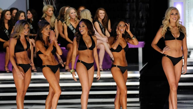 Miss America contestants during the swimsuit competition in 2010.