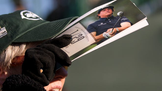 Phil Mickelson graces the cover of the pairing sheet at the 2014 Annexus Pro-Am at the TPC Scottsdale.