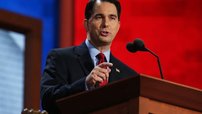 TAMPA, FL - AUGUST 28:  Wisconsin Gov. Scott Walker speaks during the Republican National Convention at the Tampa Bay Times Forum on August 28, 2012 in Tampa, Florida. Today is the first full session of the RNC after the start was delayed due to Tropical Storm Isaac.  (Photo by Chip Somodevilla/Getty Images)