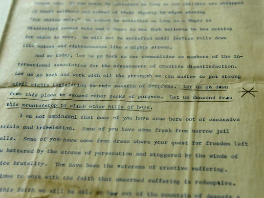 """George Raveling marked where the """"I have a dream"""" line happened on a copy of Martin Luther King's famous speech made on August 28, 1963, on the steps of the Lincoln Memorial."""