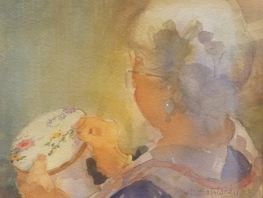 """""""Grandma's Project,"""" one of the watercolor paintings"""