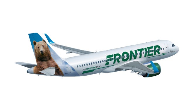 An image of a Frontier Airlines aircraft painted in the carrier's new paint scheme.