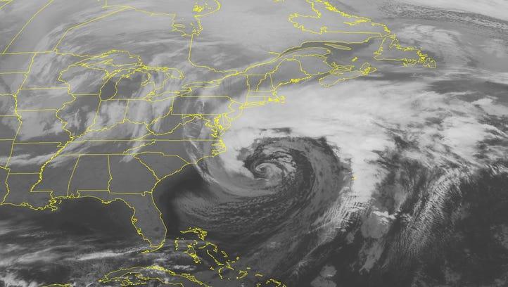 A satellite image taken Monday, Feb. 8, 2016 at 12:45