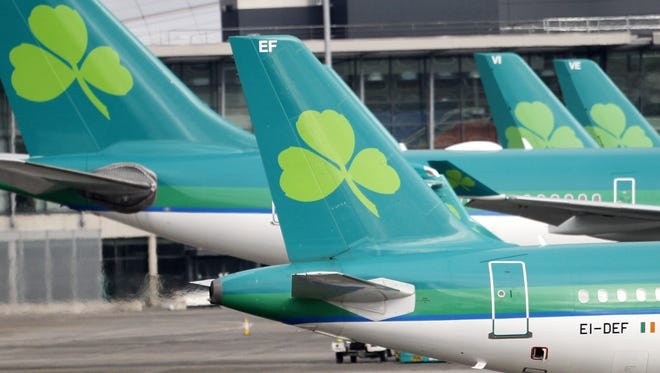 Aer Lingus planes sit at Dublin Airport on Jan. 27, 2015.