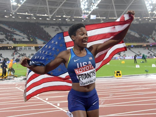 Phyllis Francis takes a victory lap after wining the
