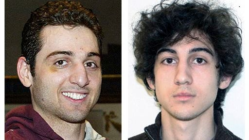 FILE - This combination of file photos shows brothers Tamerlan, left, and Dzhokhar Tsarnaev, suspects in the Boston Marathon bombings on April 15, 2013. Lawyers for Boston Marathon bombing suspect Dzhokhar Tsarnaev are pinning their best hopes for saving his life on his dead older brother, Tamerlan. The defense is expected to portray Tamerlan Tsarnaev as the mastermind behind the twin explosions that killed 3 people and wounded more than 260 near the finish line of the 2013 race. He died days later after a gun battle with police.