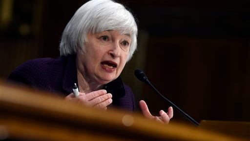 In this Feb. 24, 2015 file photo, Federal Reserve Board Chair Janet Yellen testifies on Capitol Hill in Washington.