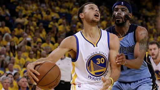 Golden State Warriors' Stephen Curry, left, looks to shoot against Memphis Grizzlies' Mike Conley during the fourth quarter of Game 5 in a second-round NBA basketball playoff series Wednesday, May 13, 2015, in Oakland, Calif. (AP Photo/Ben Margot)