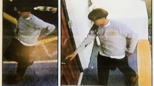 Images on a flier provided to media, Thursday, June 18, 2015, by the Charleston Police Department show surveillance footage of a suspect wanted in connection with a shooting Wednesday at Emanuel AME Church in Charleston, S.C. (Courtesy of Charleston Police Department via AP)
