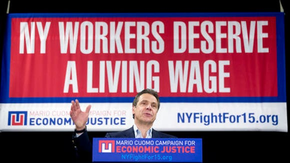 Gov. Andrew Cuomo speaks during a rally to raise the minimum wage on Thursday, Feb. 25, 2016, in Albany