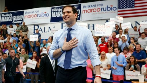 Republican presidential candidate Sen. Marco Rubio, R-Fla., speaks during a campaign rally at Palm Beach Atlantic University in West Palm Beach, Fla., Monday, March 14, 2016. (AP Photo/Paul Sancya)