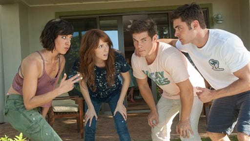 "In this image released by 20th Century Fox, from left, Aubrey Plaza, Anna Kendrick, Adam Devine and Zac Efron appear in a scene from the film, ""Mike and Dave Need Wedding Dates."""
