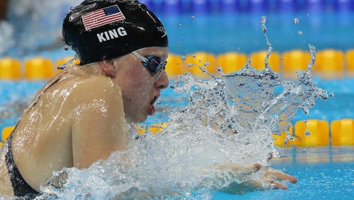 United States' Lilly King competes in a semifinal of the women's 100-meter breaststroke during the swimming competitions at the 2016 Summer Olympics, Sunday, Aug. 7, 2016, in Rio de Janeiro, Brazil. (AP Photo/Lee Jin-man)