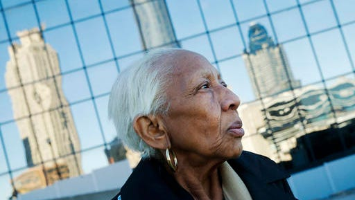 FILE -In this Jan. 11, 2016 file photo, Doris Payne poses for a photo in Atlanta. Police just outside Atlanta say a notorious 86-year-old jewel thief has struck again. Dunwoody, Ga., police say Payne was arrested Tuesday, Dec. 13, 2016, at a Von Maur department store where police report she put a $2,000 necklace in her back pocket and tried to leave the store.