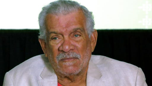 FILE - In this Tuesday April 1, 2014, file photo, the recipient of the 1992 Nobel Prize in Literature Derek Walcott attends a news conference in Mexico City. Walcott, known for capturing the essence of his native Caribbean and became the region's most internationally famous writer, died early Friday, March 17, 2017, on the island of St. Lucia, according to his son, Peter.