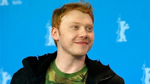 """Rupert Grint poses at the photo call for the film """"The Necessary Death Of Charlie Countryman"""" at the 63rd edition of the Berlinale, International Film Festival in Berlin, Germany. Grint, who played Ron Weasley in the Potter film franchise, will make his Broadway debut alongside Nathan Lane, Matthew Broderick, Stockard Channing, Oscar winner F. Murray Abraham and Emmy winner Megan Mullally in the Terrence McNally's Broadway-bound revival of """"It's Only a Play."""" The revival will play the Gerald Schoenfeld Theatre and opening night is set for Oct. 9."""