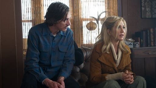 """This image released by Roadside Attractions shows John Hawkes, left, and Jennifer Aniston in a scene from """"Life of Crime."""""""