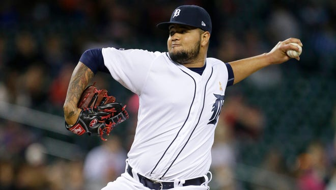 Tigers pitcher Jairo Labourt pitches against the Cleveland Indians during the eighth inning of the Tigers' 10-0 loss to the Indians in the second game of the doubleheader on Friday, Sept. 1, 2017, at Comerica Park.