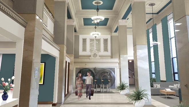A rendering of Hotel Phillips' interior. Kelly Inns Ltd. plans to remodel the former Great Western Bank building at 100 N. Phillips Ave.