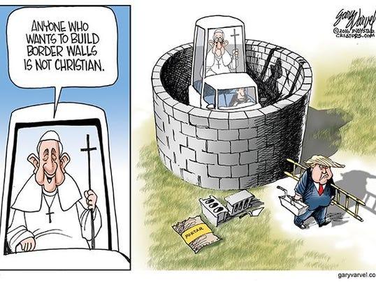 Cartoonist Gary Varvel Pope Vs Trump On Border Walls
