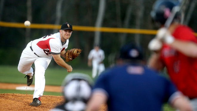 Stewarts Creek's Austin Steel fires a pitch earlier this season. Steel tossed a shutout in the Red Hawks' 10-0 win over La Vergne Sunday.