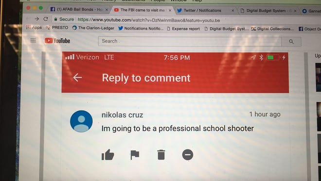 Mississippi bail bondsman Ben Bennight said he received this comment in September 2017 on his YouTube page. The comment is seen in a YouTube video Bennight posted Wednesday, Feb. 14, 2018, after the school shooting in Parkland, Fla.