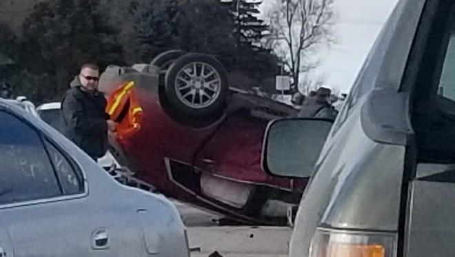 A two-vehicle crash near 57th Street and Sertoma Avenue caused one of the vehicles to roll Saturday morning. One person received minor injuries.