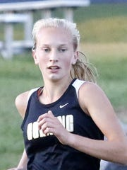 Corning's Jessica Lawson runs at a cross country meet in Elmira on Sept. 22.