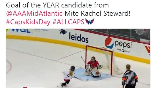 The Washington Capitals tweeted a video of a York Devils' Mites player scoring during intermission of Sunday's Caps game.