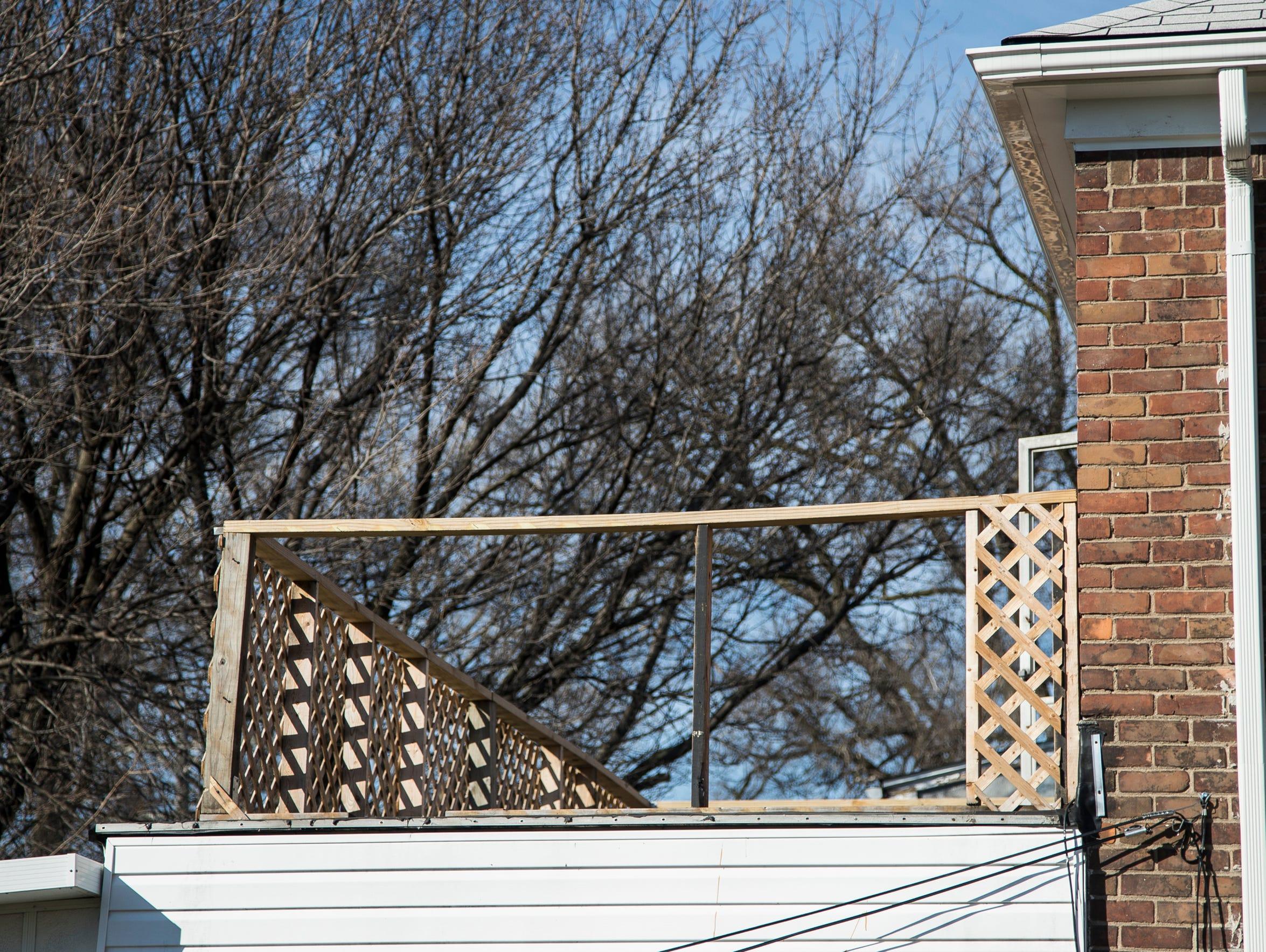 The second floor balcony of Lori Adams' home in Detroit,