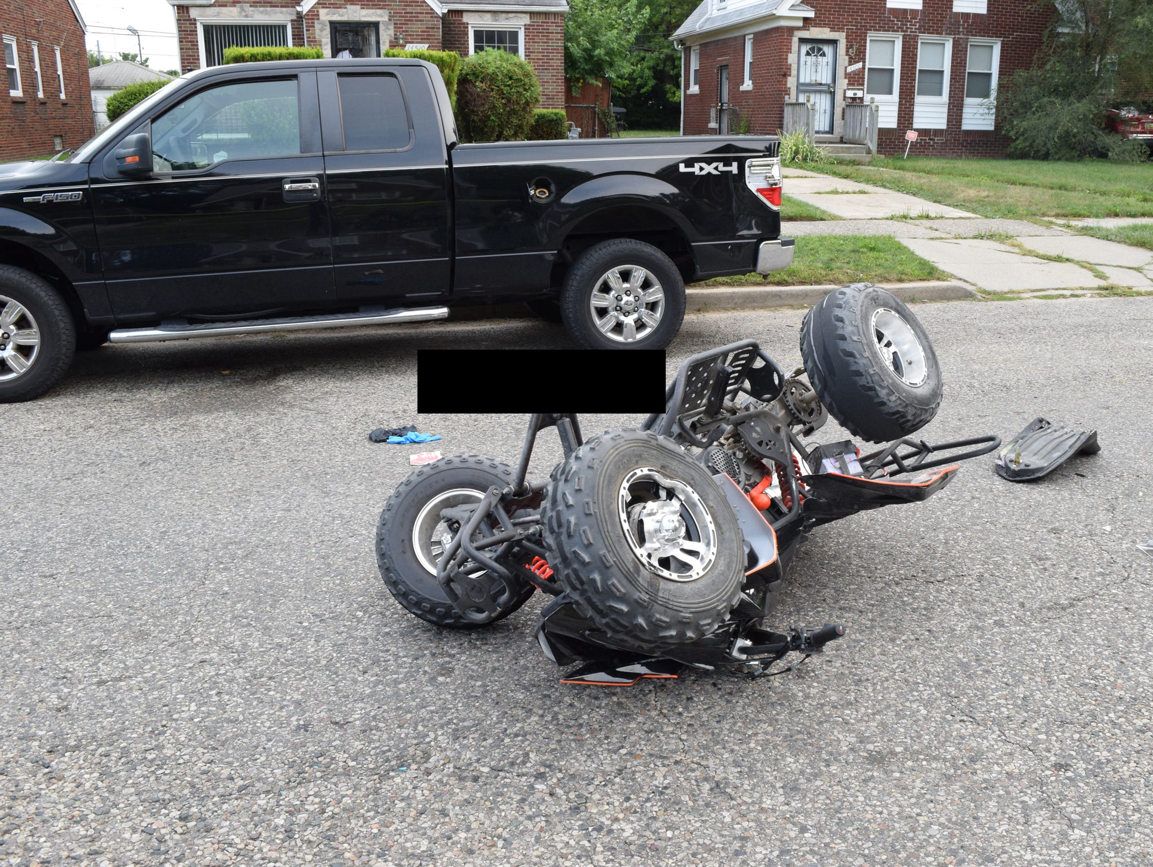 An ATV driven by Damon Grimes crashed into the back