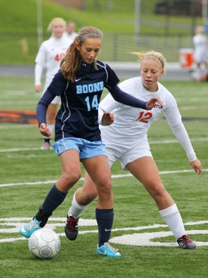 Ryle's Lauren Duggins, right, scored eight goals and had a team-high nine assists last season and has already scored two goals to start out this year.