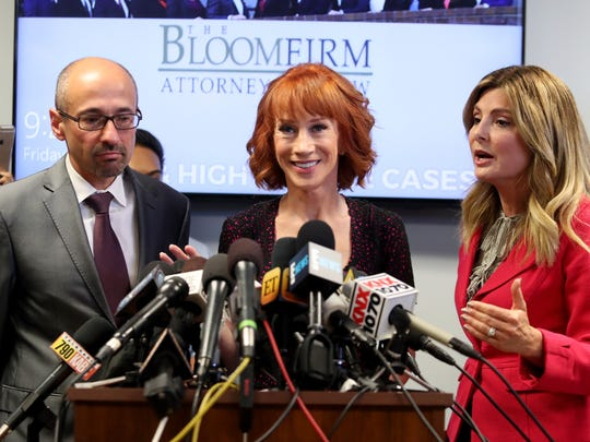 Kathy Griffin, center, and her attorney Lisa Bloom hosted a press conference amid backlash to Griffin's Trump photo last June.