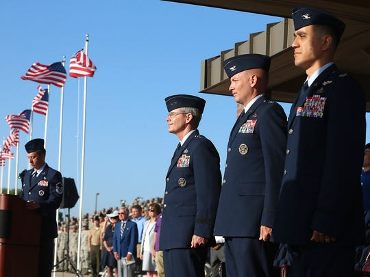Goodfellow Air Force Base helds its change of command ceremony Friday, July 21, 2017. From left to right:  Maj. Gen. Robert D. LaBrutta, commander of the Second Air Force, Keesler Air Force Base, Mississippi; Col. Micheal Downs; and Col. Ricky Mills, commander of the 17th Training Wing at Goodfellow.