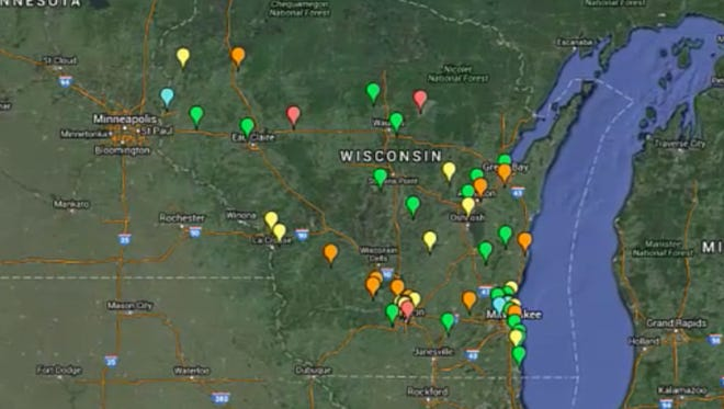 Wisconsin Department of Justice map showing Internet service provider tips of possible child pornography activity