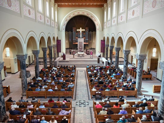 The Cathedral of St. Mary is filled with worshipers