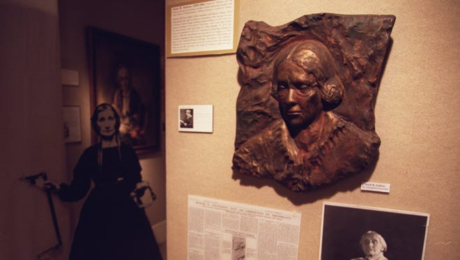 In this Feb. 2003 file photo, this is Susan B. Anthony on the wall in the women's sufferage area of the museum.  This is at the Michigan Women's Historical Museum and Hall of Fame.