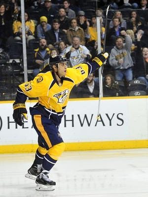 Nashville Predators center Mike Ribeiro celebrates his goal against Boston Bruins during the third period.